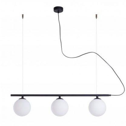 podłużna lampa wisząca szklane klosze czerń i biel