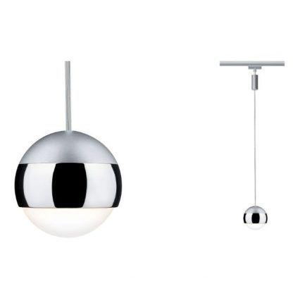 srebrna lampa wisząca system szynowy mały klosz