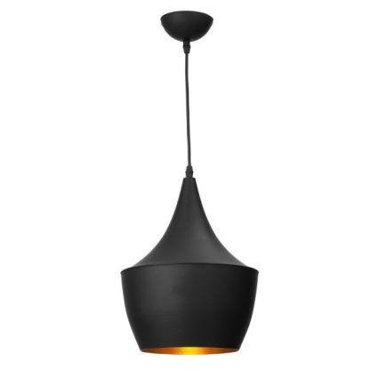 czarna lampa wisząca - miedziany środek - nowoczesna