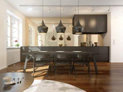 lampy nad stół do salonu - szare i czarne aranżacje
