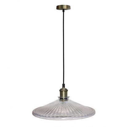 szklana lampa wiszaca - mosiądz