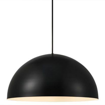 czarna lampa wisząca - duży klosz