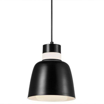 biało czarna lampa wisząca - nowoczesny klosz