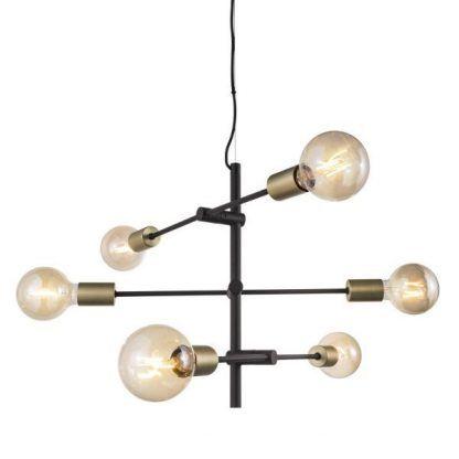 żyrandol wiszący z samych żarówek edisona - złoty i czarny
