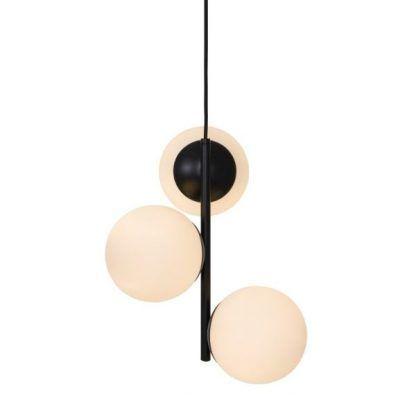 lampa wisząca - czarna z białymi kulami