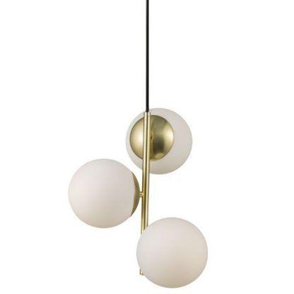 złota lampa wisząca z 3 kulami szklanymi