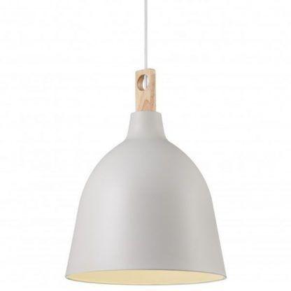 biała lampa wisząca z drewnianym uchwytem