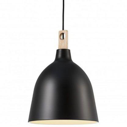 lampa drewniana z czarnym kloszem do sypialni