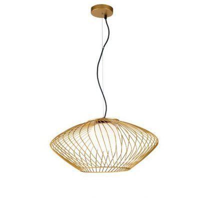 złota lampa wisząca ze szklaną kulą owalna