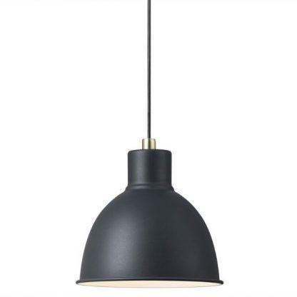industrialna lampa wisząca z czarnym kloszem