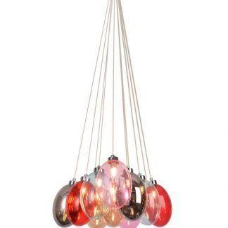 lampa wisząca z kolorowymi bańkami ze szkła