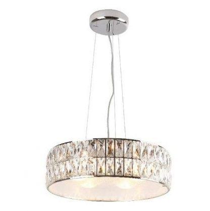 lampa wisząca z okrągłym kryształowym kloszem