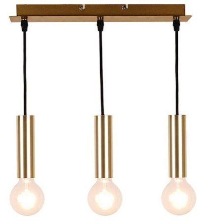 lampa wisząca z trzema złotymi tubami