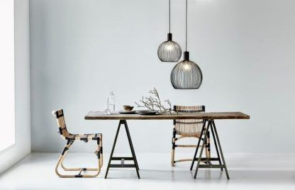 lampy wiszące do salonu nad stół - czarne druciane