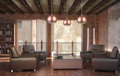 lampy wiszące w salonie - miedziane kule - zdjęcia