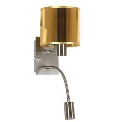 metaliczny kinkiet z dodatkowym reflektorem