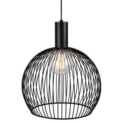 nowoczesna lampa druciana - czarna