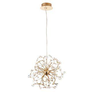 piękna miedziana lampa wisząca z kryształkami - led