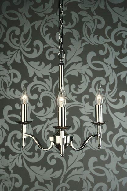 piękny srebrny żyrandol na 3 żarówki do sypialni lub pokoju