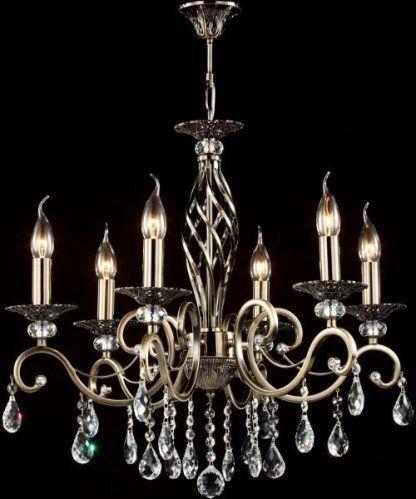 piękny złoty żyrandol świecznikowy do salonu - kryształki