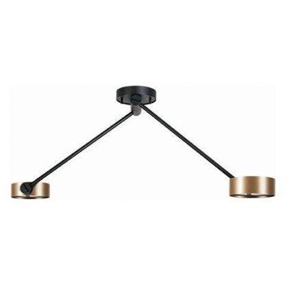podwójna lampa sufitowa z dwoma ramionami złotymi