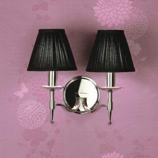 podwójny kinkiet srebrny glamour z czarnymi abażurami - sypialnia