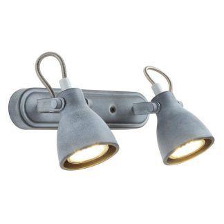 podwójny kinkiet z szarymi reflektorami