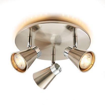 potrójna lampa sufitowa okrągła z 3 reflektorami do pokoju