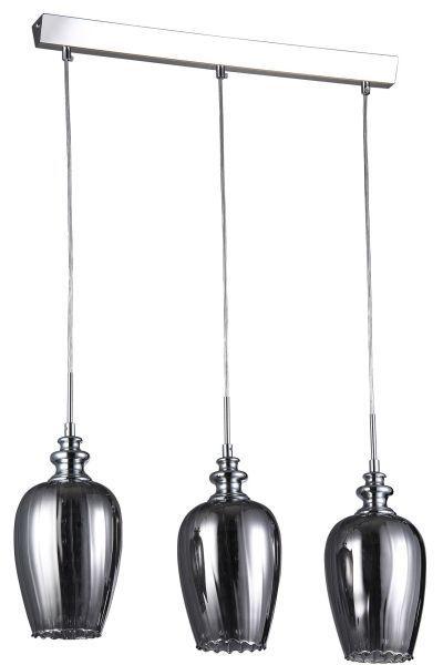 potrójna lampa wisząca z 3 srebrnymi kloszami ze szkła do kuchni