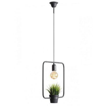 prostokątna lampa wisząca z doniczką skandynawska