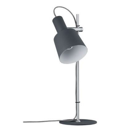 srebrna lampa biurkowa z czarnym kloszem