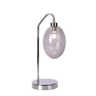 srebrna lampa stołowa ze szklanym abażurem