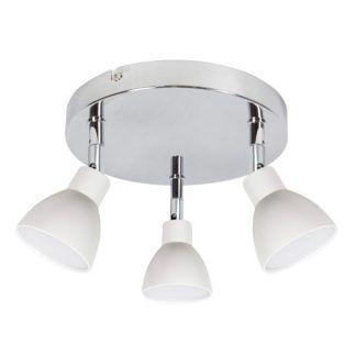 srebrna lampa sufitowa z białymi kloszami