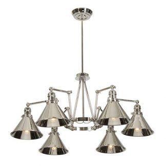 srebrna stalowa lampa połysk - do salonu i kuchni
