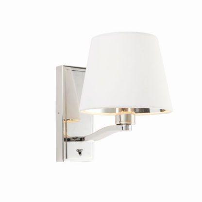 srebrny kinkiet do sypialni z włącznikiem - nocna lampka