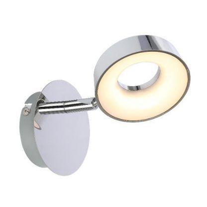 srebrny kinkiet z okrągłym mlecznym kloszem