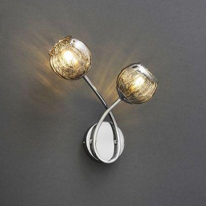 srebrny podwójny kinkiet do lazienki - szklane klosze