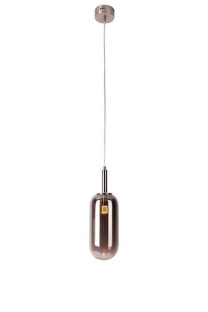 szara obła lampa wisząca ze szklanym kloszem