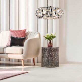 szklana kryształowa lampa wisząca do salonu - aranżacje