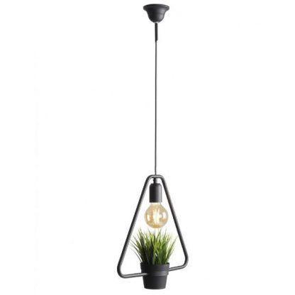 trójkątna czarna lampa wisząca z doniczką
