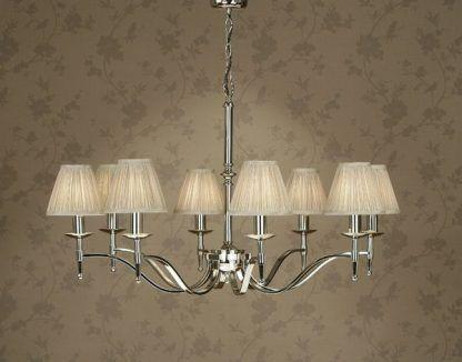 wielki żyrandol do salonu z abażurami - srebrny