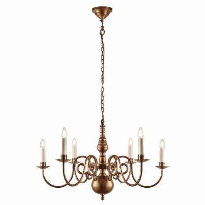 wiszący żyrandol na łańcuchu ze świecznikami - elegancki klasyczny