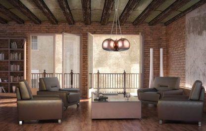 zdjęcia salonu z lampami wiszącymi ball - miedzianymi