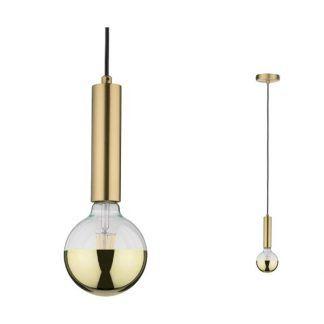 złota lampa wisząca tuba na żarówkę e27