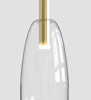 złota lampa wisząca ze szklanym kloszem nowoczesna