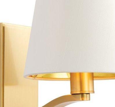 złoty kinkiet do sypialni - biały abażur nowoczesny