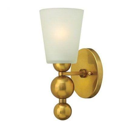 złoty kinkiet z kulami - biały szklany klosz
