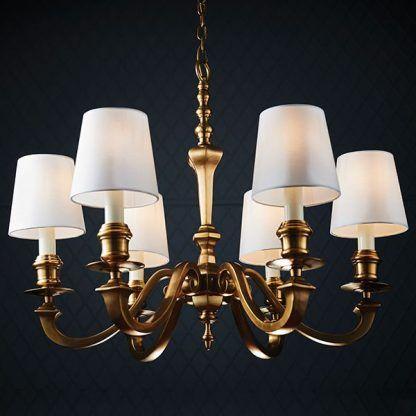 złoty żyrandol z abażurami - 6 żarówek - do salonu