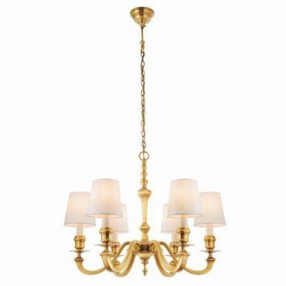 złoty żyrandol z abażurami - lampa do eleganckiego salonu