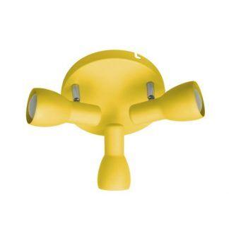 żółta lampa sufitowa 3 reflektory dziecięca